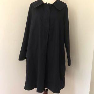 COS Black A Line Dress Round Open Lapel Neck